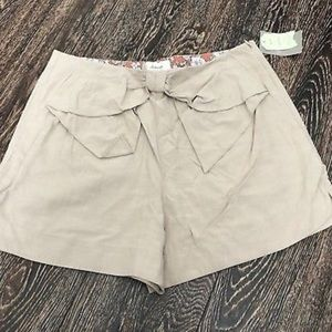 Anthropologie elevenses bow front shorts